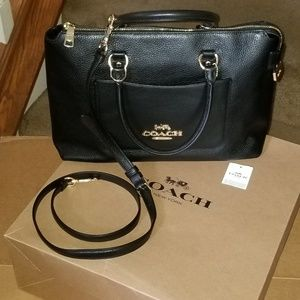 NWT COACH MIA in pebbled black leather w/crossbody